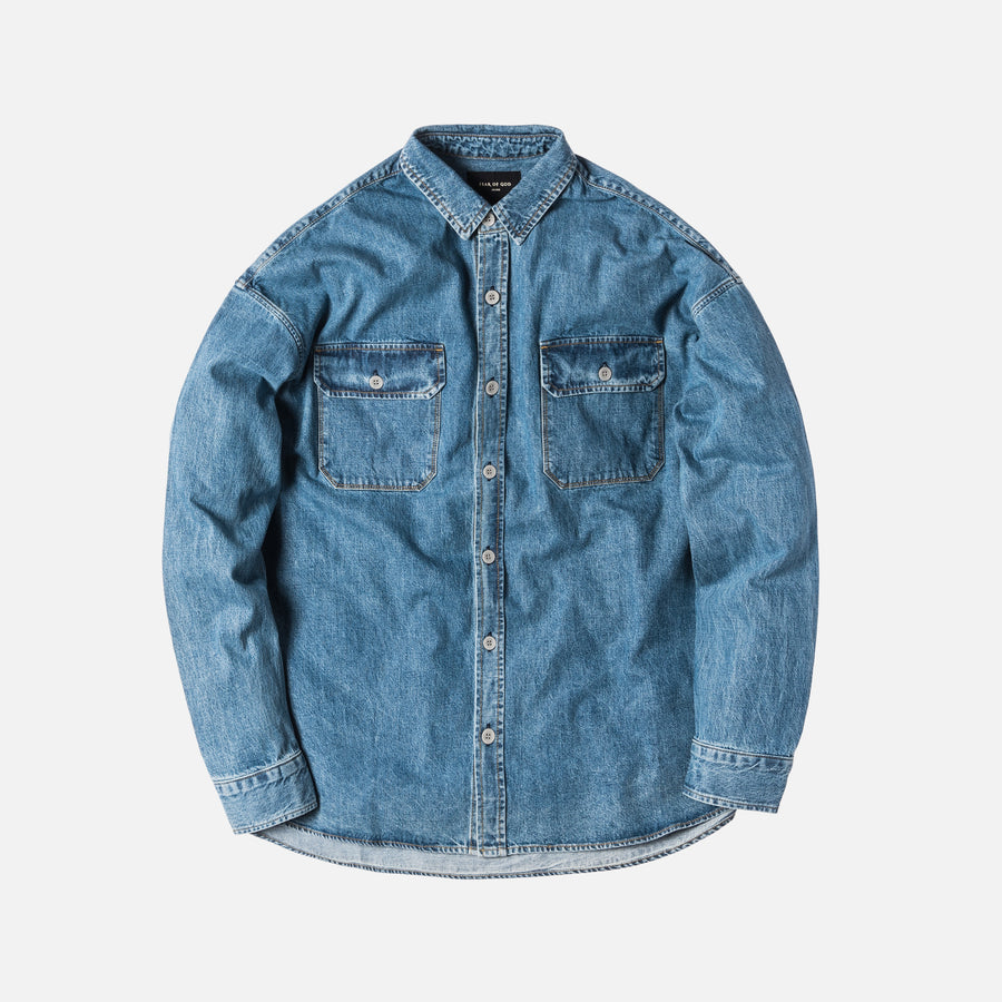 Fear of God Denim Oversized Button-Up - Light Indigo