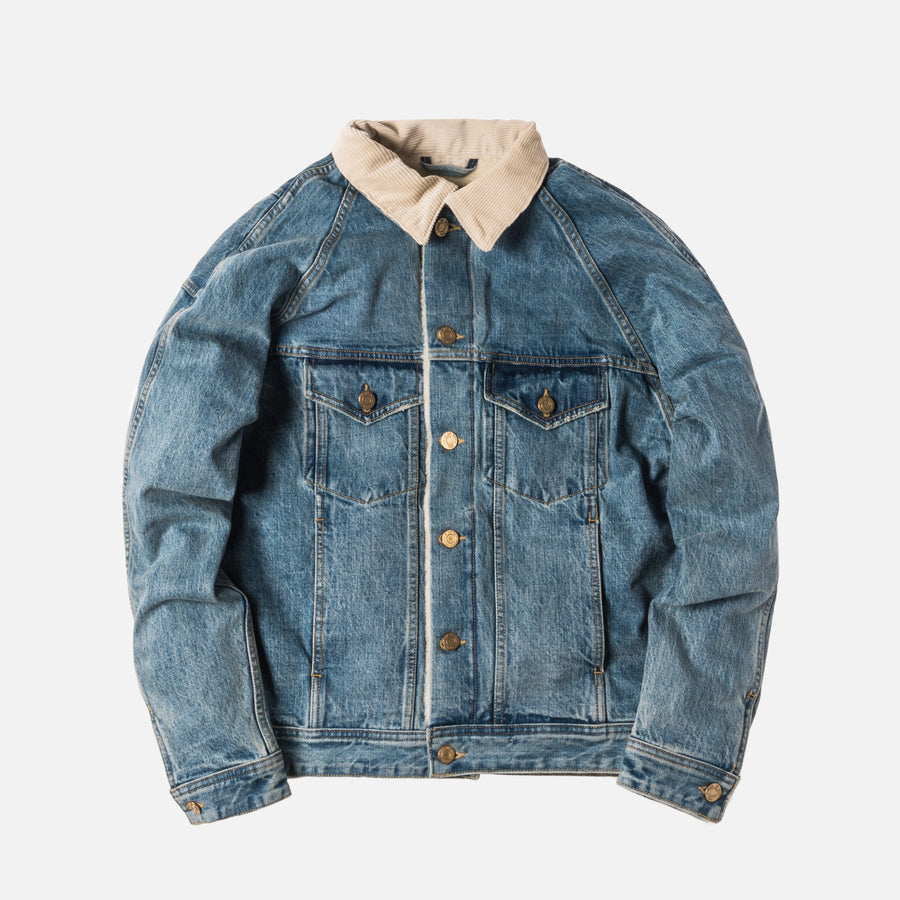 Fear of God Selvedge Denim Alpaca Trucker Jacket - Vintage Light Indigo