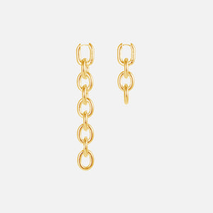 Numbering Unbalanced Chain Drop Earrings - Gold