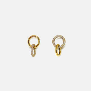 Numbering Double Pave Link Earrings - Gold