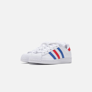 adidas Grade School Superstar - Footwear White / Bright Blue / Team College Red