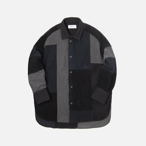Ambush Fleece Patchwork Button-Up - Black