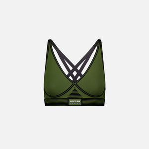 Adam Selman Bonded Active V-Neck Bra - Tactical Green