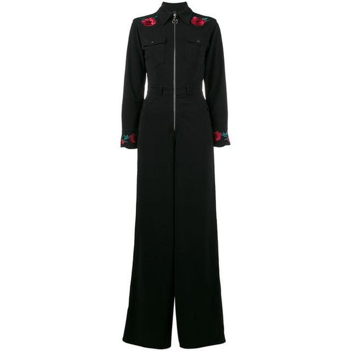 Adam Selman Collar Jumpsuit - Black / Blue