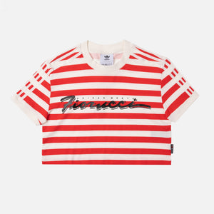 adidas by Fiorucci Stripe Crop Tee - White / Red