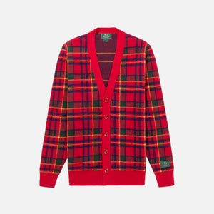 Aimé Leon Dore x Woolrich Plaid Cardigan - Red Wine Image 1