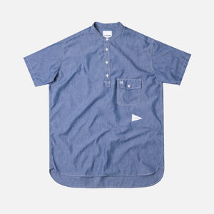 And Wander PL Dungaree Short Sleeve Over Shirt - Blue