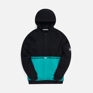 Alexander Wang Color Block 1/2 Zip Hooded Sweatshirt - Black / Jade