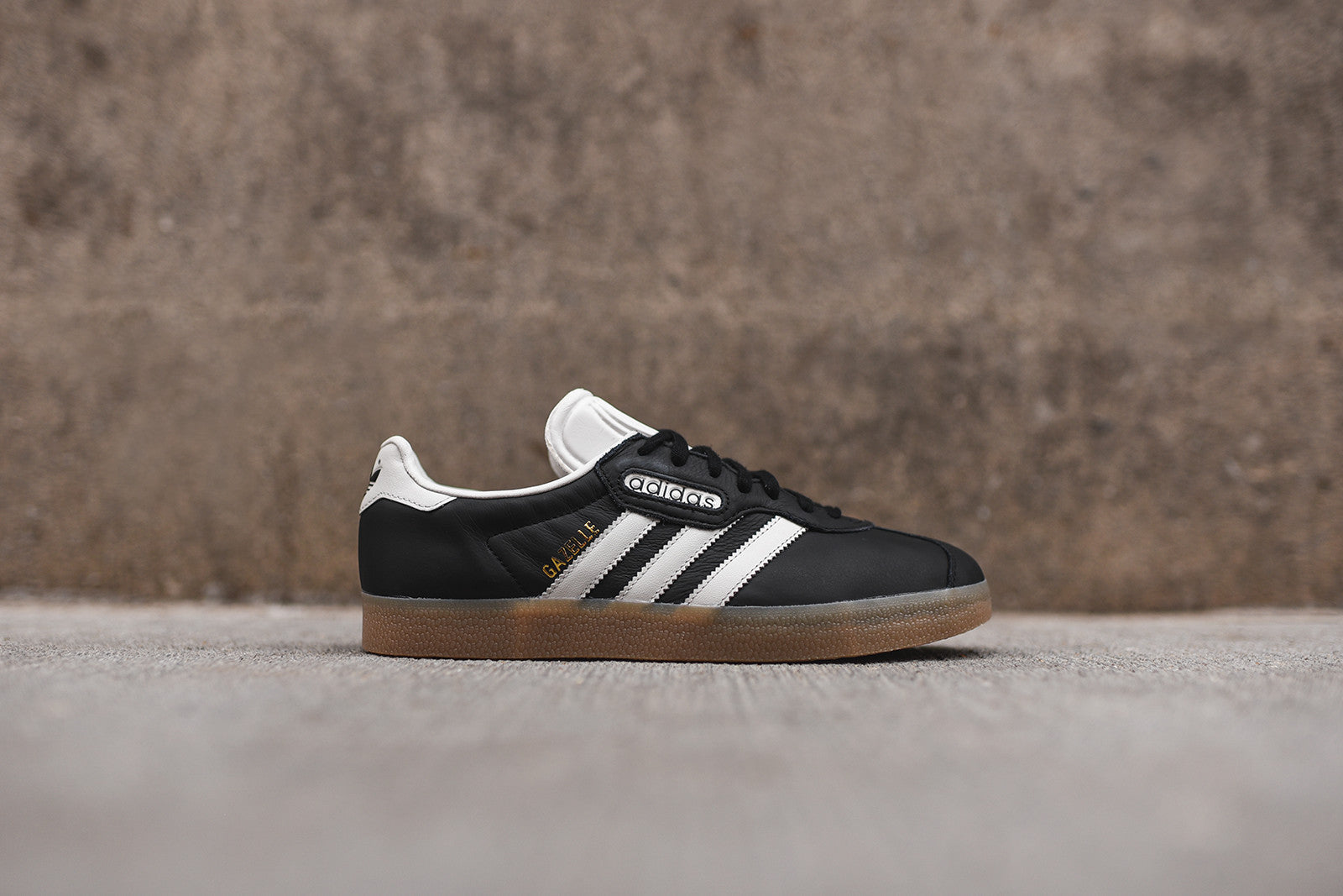 adidas gazelle black white gum