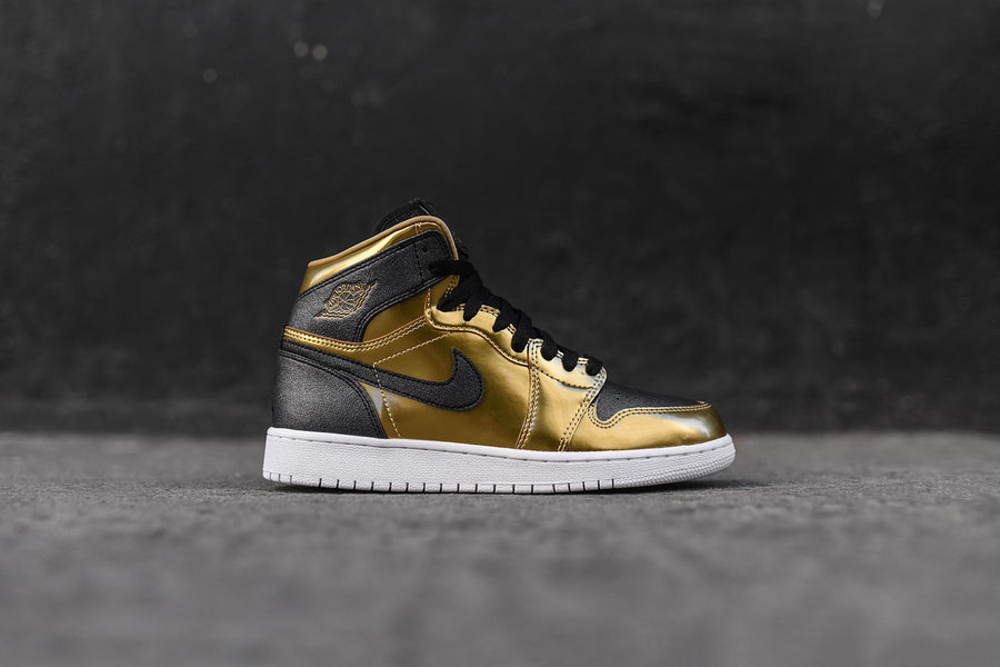 Nike GS Air Jordan 1 Retro High BHM - Black / Metallic Gold
