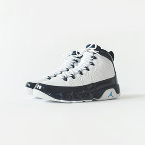 703b26b6e92 Nike GS Air Jordan 9 Retro - White / University Blue / Midnight Navy ...