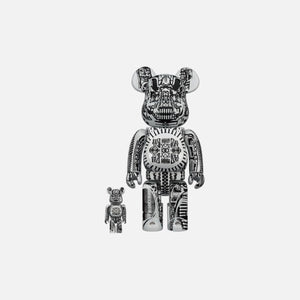 BearBrick H.R. Giger White Chrome 400% + 100%