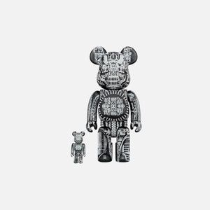 BearBrick H.R. Giger Black Chrome 400% + 100%