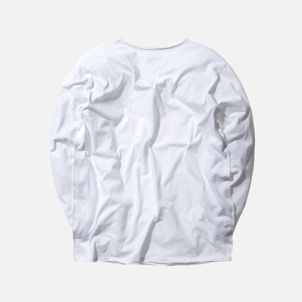 KITH Classics L/S Frayed Bank Tee - White