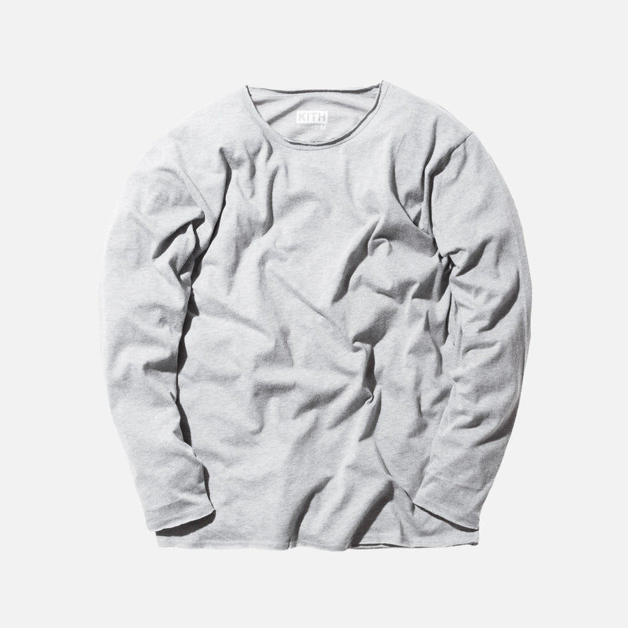 KITH Classics L/S Frayed Bank Tee - Heather Grey