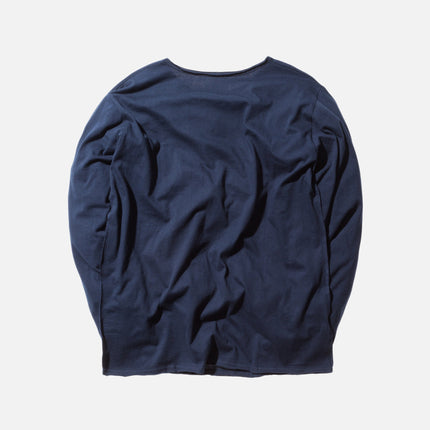 KITH Classics L/S Frayed Bank Tee - Navy