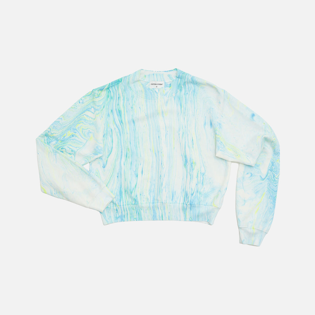 Cotton Citizen Milan Crewneck Neon Blue Marble Kith