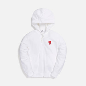 Comme des Garçons Play Mens Sweatshirt Zip Up Hoodie - White