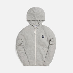Comme des Garçons Play Mens Sweatshirt Zip Up Hoodie - Grey