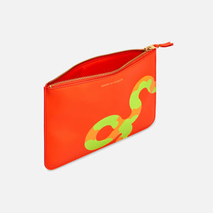 CDG Pocket Ruby Eyes Top Zip Large Wallet - Orange