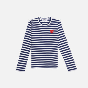 CDG Pocket Play Striped Tee - Navy / White