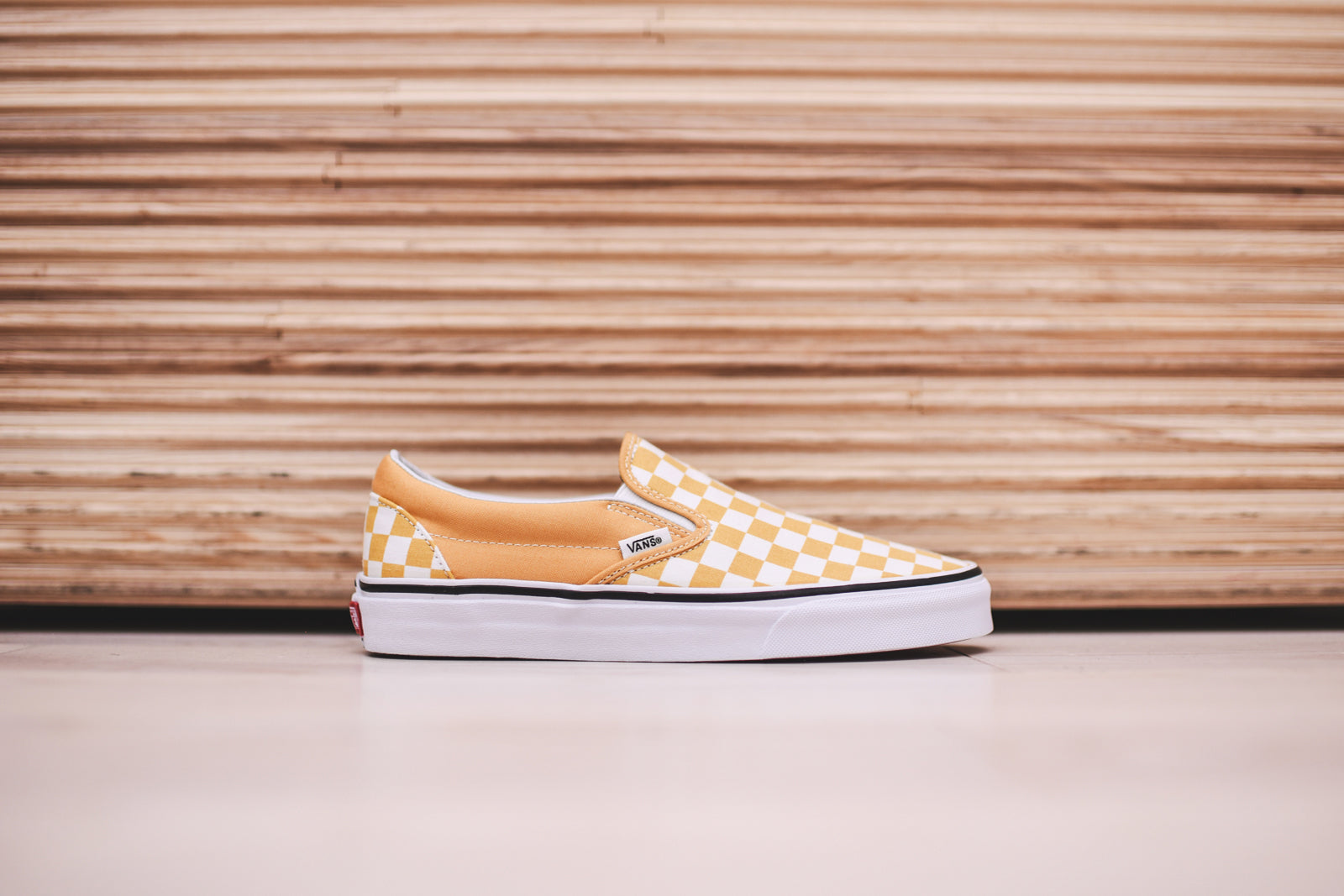 vans classic slip on checkerboard ochre true white