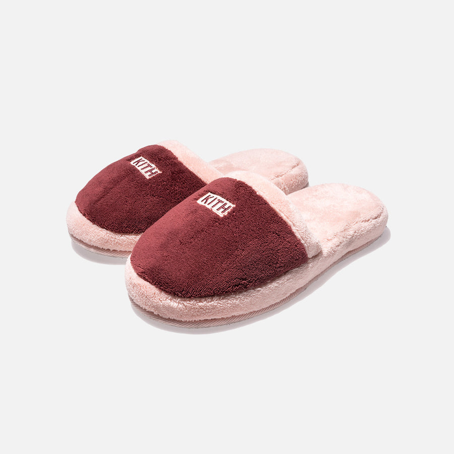 Kith Fleece Slippers - Burgundy / Coral
