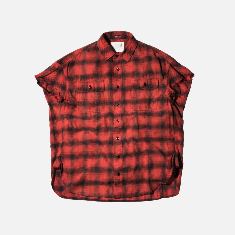 R13 Oversized Cut-Off Shirt - Black / Plaid