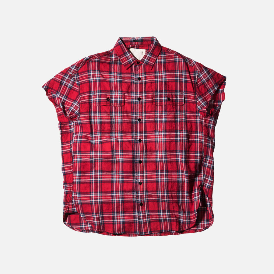 R13 Oversized Cut-Off Shirt - Red / Plaid