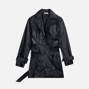 Danielle Guizio Belted Leather Trench Coat - Black