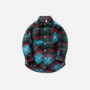 Kith Kids Mixed Plaid Ginza Shirt - Teal / Dark Green