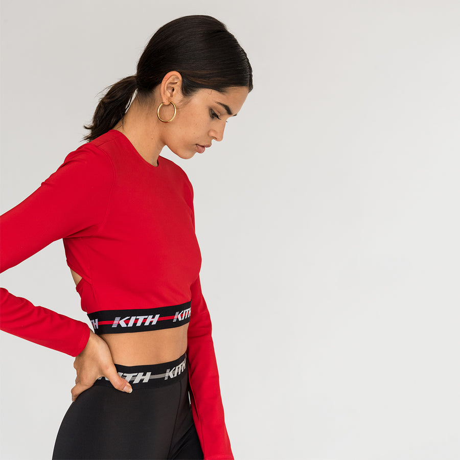 Kith Sport Naomi Long Sleeve Crop Top - Red