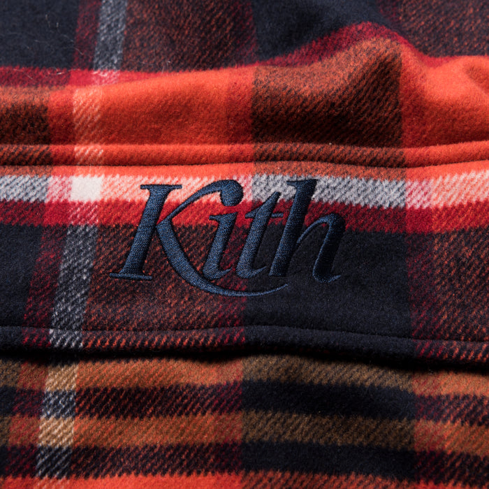 Kith Harrison Plaid Flannel Hooded Pullover - Orange  / Navy