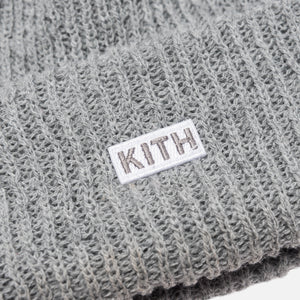 Kith Classic Logo Knit Beanie - Light Heather Grey