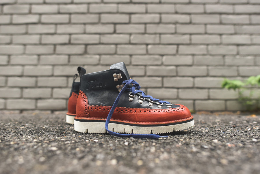 Fracap Brogue Boot - Navy / Red