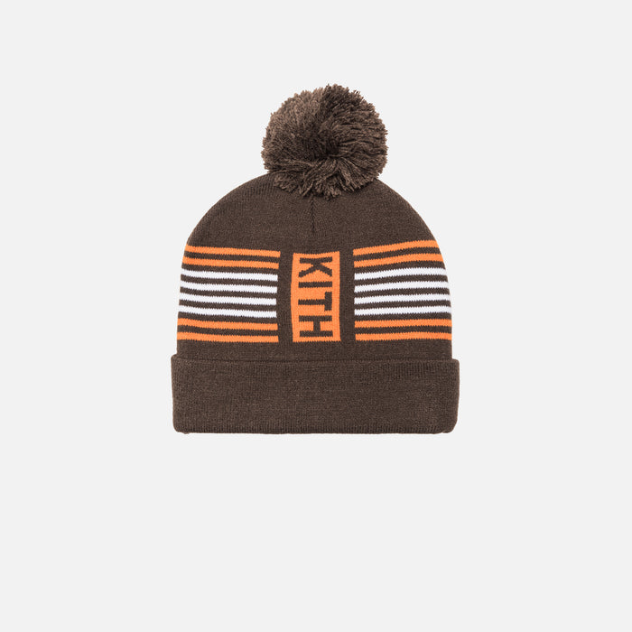 Kith Kids Striped Beanie - Brown