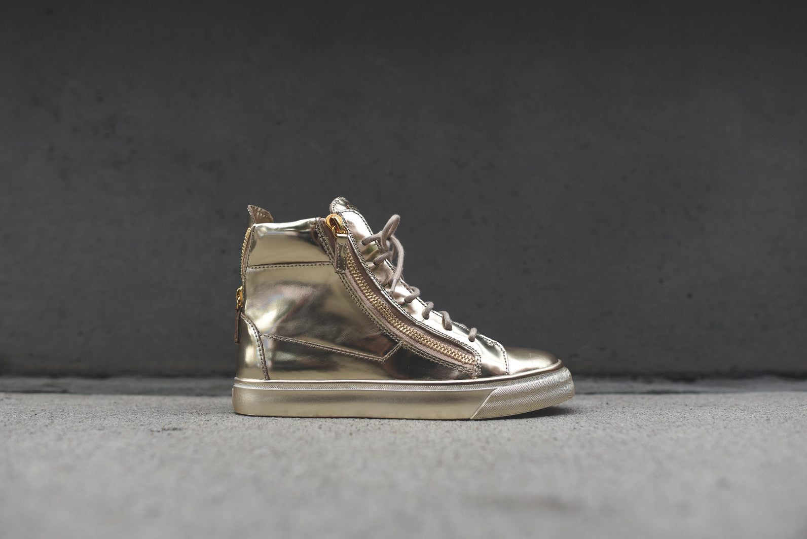 Giuseppe Zanotti WMNS Hi Top Zip Up Mirror - Gold