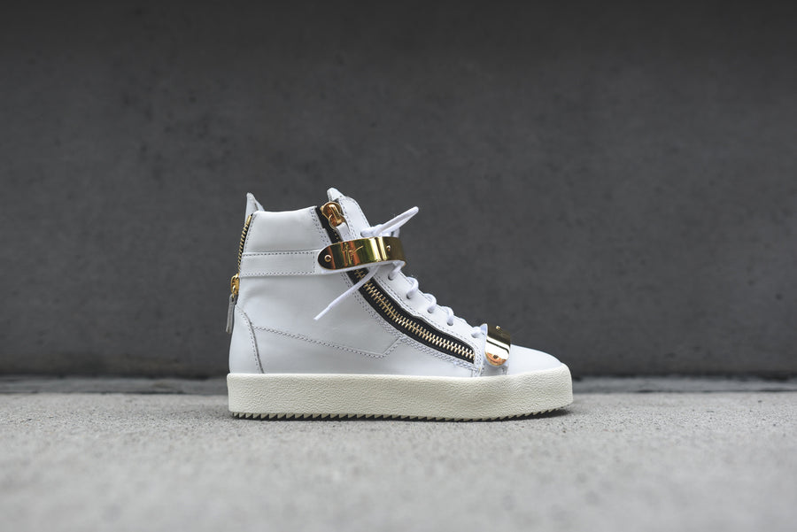 Giuseppe Zanotti WMNS Hi Top Double Hardware - White / Gold