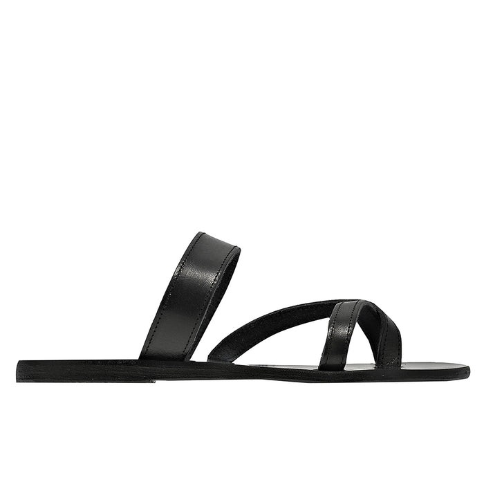 Ancient Greek Daphne Sandal - Black / Platinum