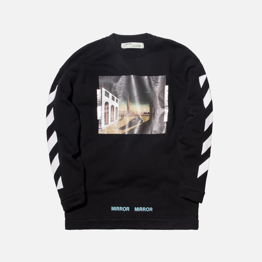 Off-White Diagonal Silver Chirico Crewneck - Black