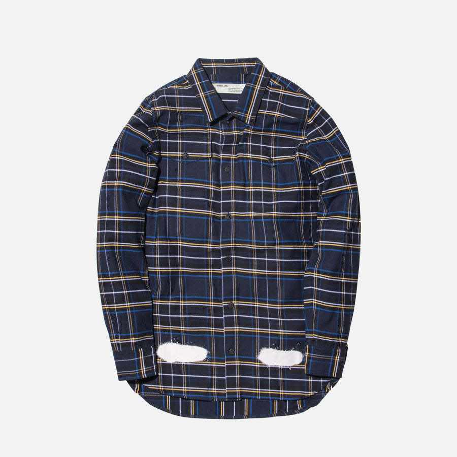 Off-White Diagonal Spray Button-Up - Blue