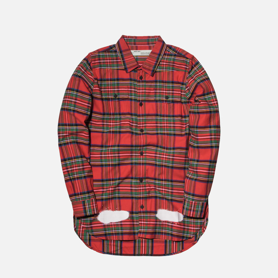 Off-White Diagonal Spray Button-Up - Red / White