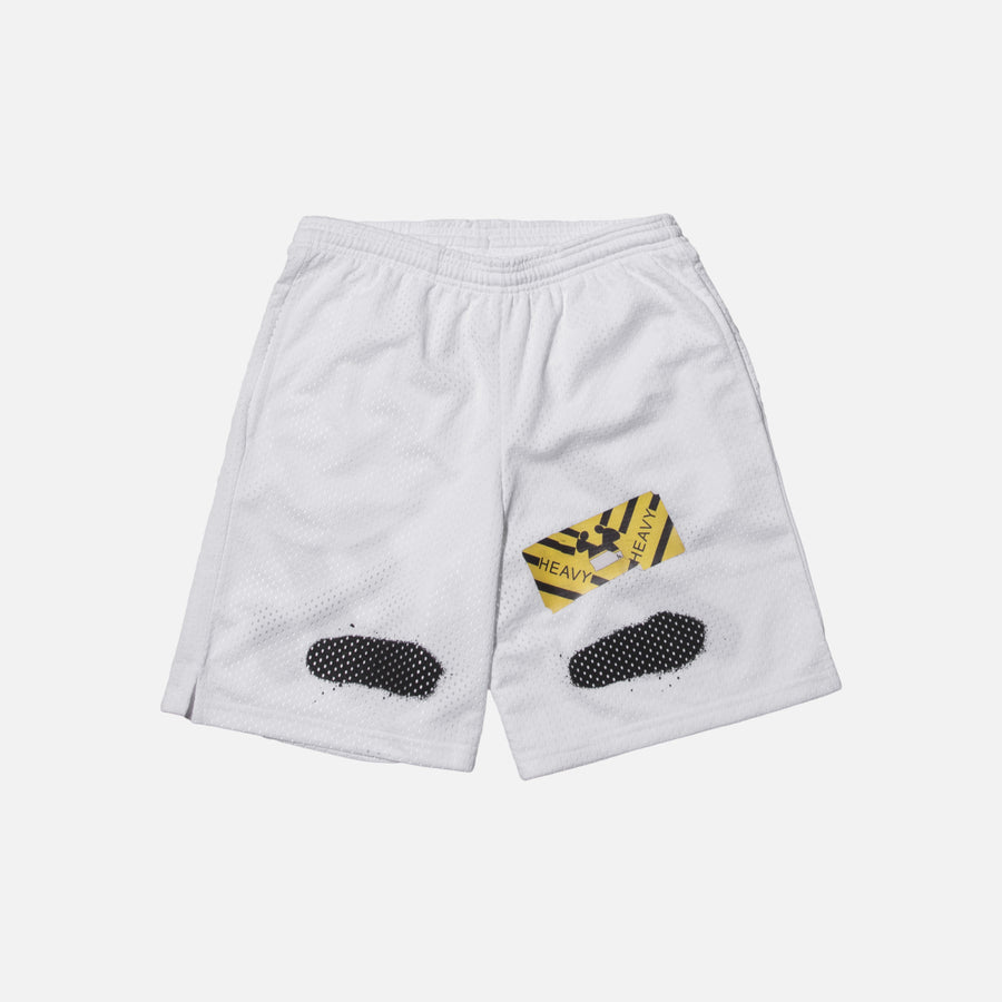 Off-White Diagonal Spray Mesh Shorts - White