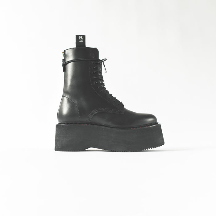 R13 Double Stacked Lace-Up Boot - Black