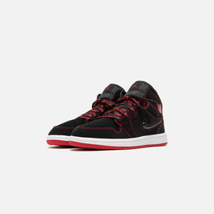 Nike Air Jordan Pre-School 1 Mid - Black / Noble Red / White