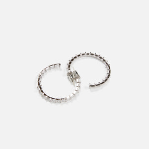 Fallon Crystal Baguette Hoop Earrings - Silver