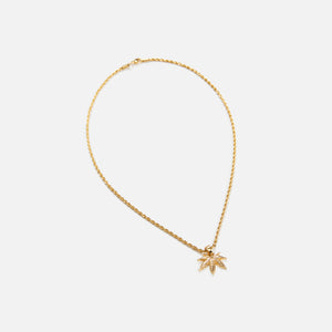 Fallon Cannabis Charm w/ Chain - Gold