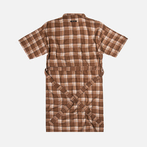 Fear Of God Plaid Flannel Robe - Brown / Cream