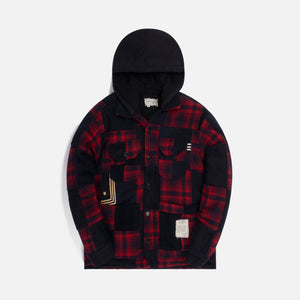 Greg Lauren Sailor Plaid Boxy Hooded - Red / Black Image 1