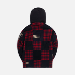 Greg Lauren Sailor Plaid Boxy Hooded - Red / Black Image 2
